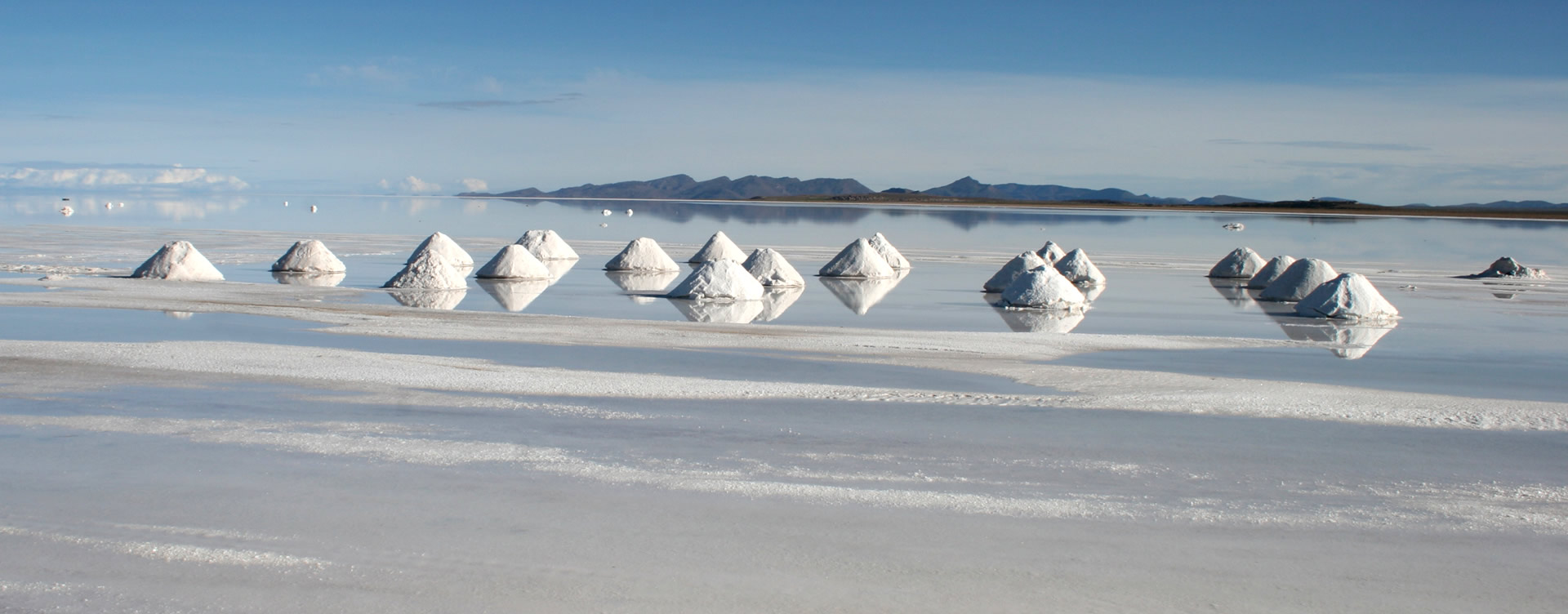 Salt piles in Uyuni