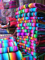 Colourful textiles for sale at the market