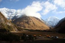 The cooks' tents, with Humantay and Salkantay [Peru]